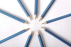 Circle of pencils. Close up detail of pencils arranged in a circle with points facing inwards vector illustration
