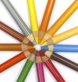 Circle of pencils. Art pencils Stock Photo