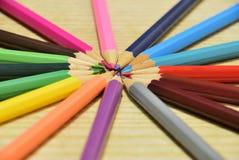Circle of pencils. Colored pencils was arranged circular Royalty Free Stock Photo
