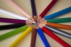 Circle of pencils in different shades Stock Photography