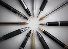 Circle of Pens stock image