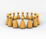 Circle of people. A circle of stylized people, represented as golden puppets, each one reflecting the others on its shiny surface Royalty Free Stock Image