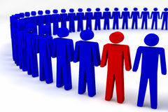 Circle of People. A circle of blue stickmen people, one stickman is coloured red Stock Photos