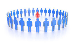 Circle of people in blue with leader in red Royalty Free Stock Photos