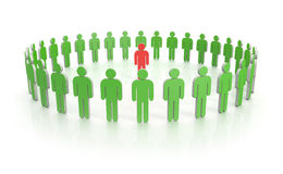 Circle of people in green with leader in red Royalty Free Stock Image