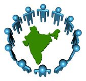 Circle of people and india map Stock Photo