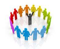 Circle of people with leader Stock Images