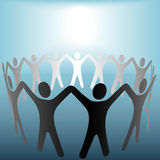 Circle of People Under Bright Spot Blue Background