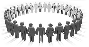 Circle of people. On white background Stock Photos