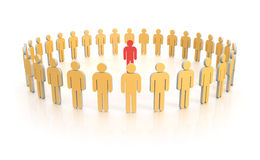 Circle of people in yellow with leader in red Royalty Free Stock Photos