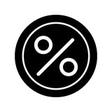 Circle Percent vector icon. Black and white finance illustration. Outline linear icon. Eps 10 Royalty Free Stock Photography