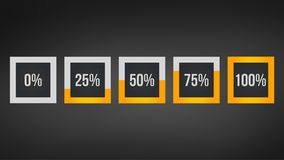 Circle percentage,Performance analysis in percent, square number 0,25,50,75,100, infographic isolated on black background. Circle percentage,Performance analysis stock illustration