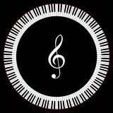 Circle of Piano Keys. With Treble Clef Vector Illustration Royalty Free Stock Photos