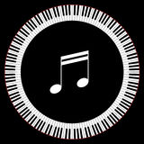 Circle of Piano Keys. With Two Beamed Eight Notes Stock Photos