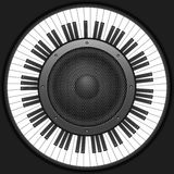 Circle piano keys with speaker Stock Photography