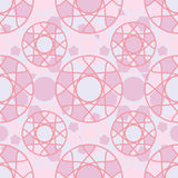 Circle pink color symmetry seamless pattern. This illustration is design circle and circle decor with pink color and symmetry in seamless pattern Stock Images