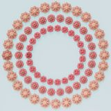 Circle of pink flowers on blue background.Minimal concept. 3 Circles of pink flowers on blue background.Minimal concept.3d rendering Royalty Free Stock Photo