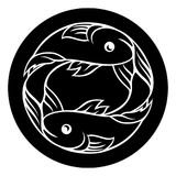 Pisces Fish Zodiac Astrology Sign. Circle Pisces fish horoscope astrology zodiac sign icon Stock Images