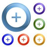 Circle plus icons set vector stock illustration