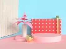 Circle podium abstract scene blue wall pink floor tree pot/jar 3d render. Ing stock illustration