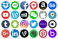 Circle popular social media and other icons stock illustration