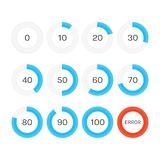 Circle progress bar. Circle loading or progress bars isolated on white background. Template graph blue pie chart with gradations 10 20 30 40 50 60 70 80 90 100 Royalty Free Illustration