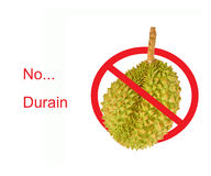 Circle Prohibited red Sign on Durian photo For No Durians Stock Image