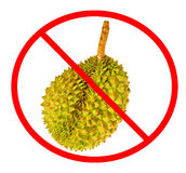 Circle Prohibited red Sign on Durian photo Stock Photo