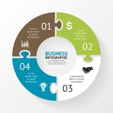 Circle puzzle infographic, diagram, 4 steps Royalty Free Stock Image