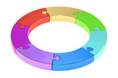 Circle puzzle, strategy and success concept, 3D rendering Stock Photo