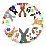 Circle of rabbits and easter eggs Stock Images