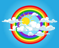 Circle rainbow and clouds blue sky Stock Photography