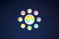 Circle of rainbow colored full moons on starry sky background Stock Image