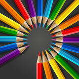 Circle of rainbow colored pencils with realistic Royalty Free Stock Images