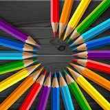 Circle of rainbow colored pencils with realistic Stock Photos