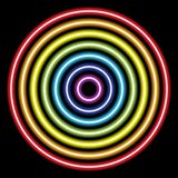 circle rainbow neon tube lights on black for background and design vector illustration