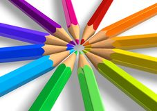 Circle from rainbow pencils Royalty Free Stock Photography