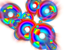 Circle Rainbows in Motion 2. Digital motion made circle rainbow background Royalty Free Stock Image