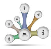 Circle ralationship with icons Royalty Free Stock Images