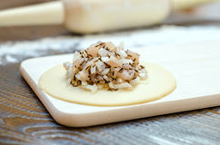 Circle of raw dough with white meat and onions, on a wooden board, rolling pin and flour. On a brown wooden background Stock Image