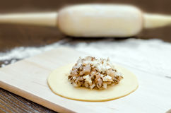 Circle of raw dough with white meat and onions, on a wooden board, rolling pin and flour stock photo