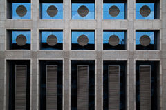 Circle, rectangle of window style in concrete building pattern Royalty Free Stock Photography