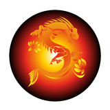 Circle Red Background With Yellow Dragon Vector Stock Photos