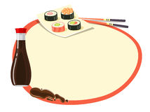Circle with Red Frame with Soy Sauce and Sushi Royalty Free Stock Photo