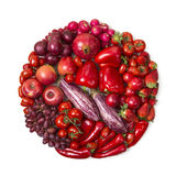 Circle of red fruits and vegetables Stock Photo