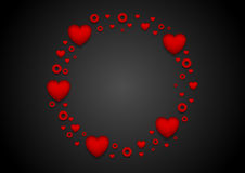 Circle from red hearts St Valentines Day design. Circle from red hearts St Valentines Day on black background. Graphic vector design Royalty Free Stock Images