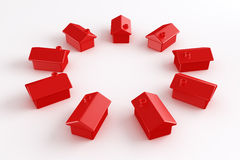 Circle of red houses Royalty Free Stock Photos