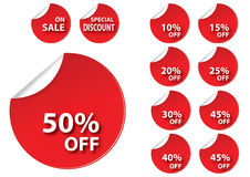 Circle red sale tag Stock Image
