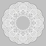 Circle retro frame lace pattern white light gray color. Vintage ornament, embroidery, mandala. Circle retro frame lace pattern white light gray color. Vintage royalty free illustration