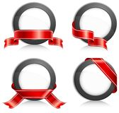 Circle with ribbon stock illustration